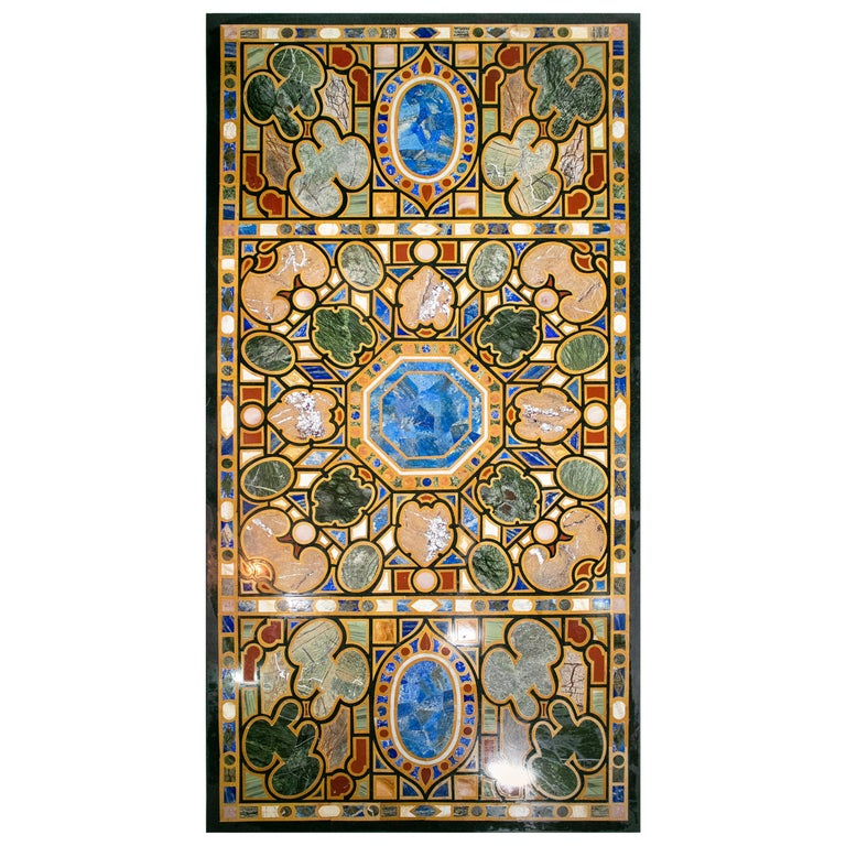 Italian Pietre Dure Rectangular 10-Seat Dinning Classical Inlay Table Top For Sale