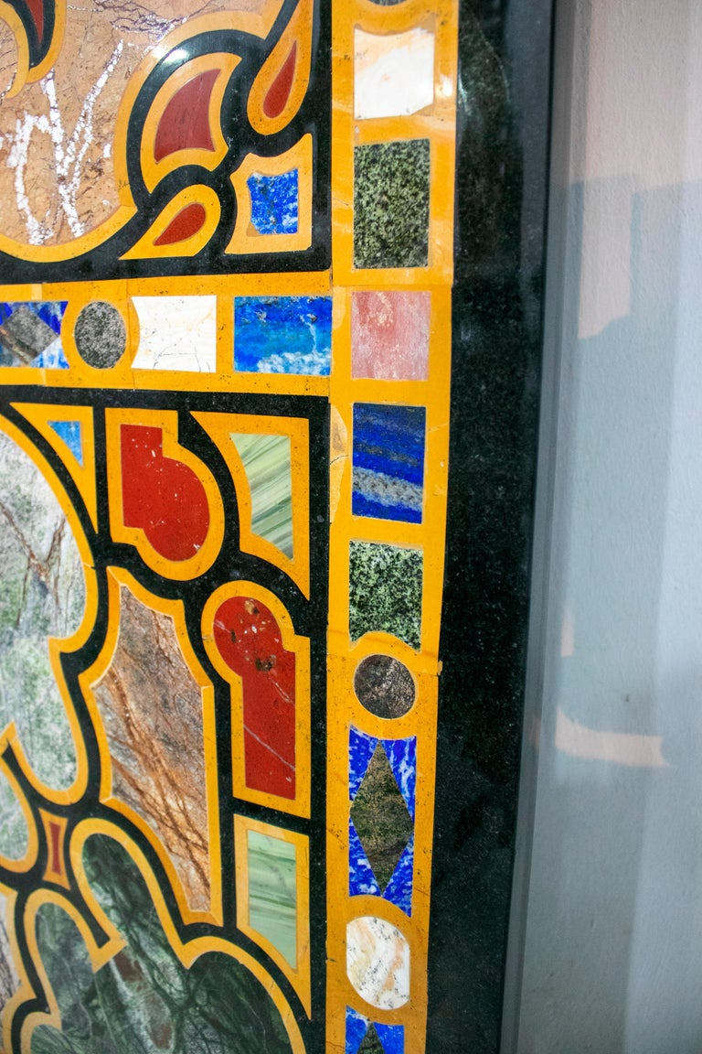 Italian Pietre Dure Rectangular 10-Seat Dinning Classical Inlay Table Top In Good Condition For Sale In Malaga, ES