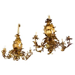 Italian Pineapple-Form Gilt Tole Chandeliers, 2 Available
