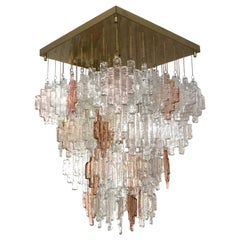 Italian Pink Clear Murano Glass Midcentury Chandelier by Mazzega, 1960s