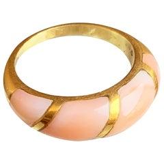 Italian Pink Coral 18 Karat Gold Ring