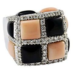 Italian Pink Coral Black Onyx Diamond White Gold Ring