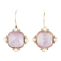 Italian Pink Crystal and Pearl Vermeil Drop Earrings