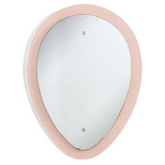 Italian Pink Glass Reverse Teardrop Mirror by Cristal Arte