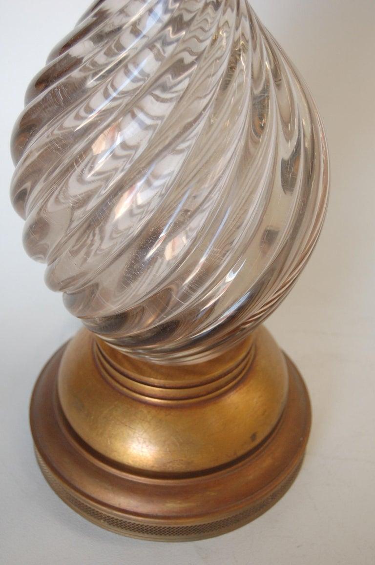 Italian Pink Metalic Swirled Murano Glass Table Lamp on Gold Wood Base For Sale 2