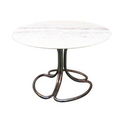 Italian Pink Portugal Marble and Steel Dining Table, 1970s