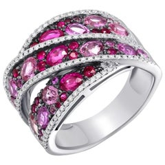Italian Pink Sapphire Ruby Diamond White Gold Ring for Her