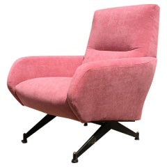 Italian Pink Velvet and Metal Armchair with Armrests, 1950s