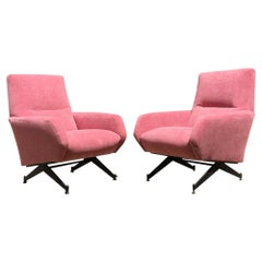 Italian Pink Velvet and Metal Armchairs with Armrests, 1950s