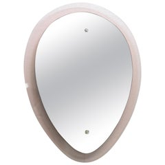 Italian Pink Wall Mirror in the Style of Fontana Arte, 1950s