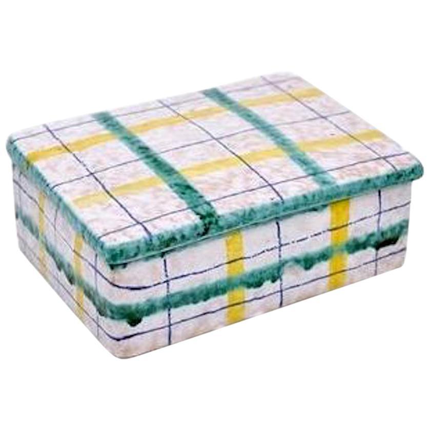 Italian Plaid Ceramic Box