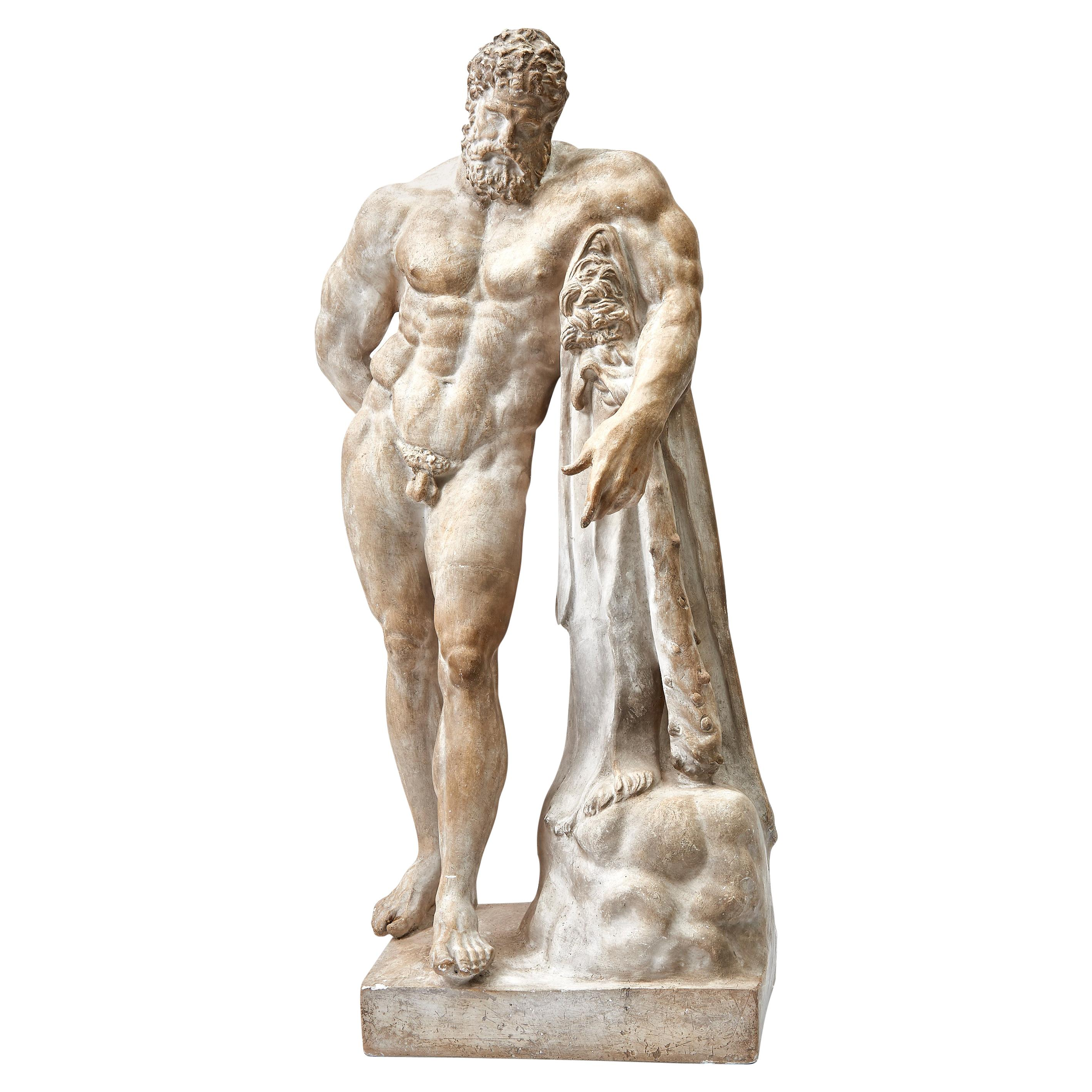 "Italian Plaster Cast Sculpture of ""The Farnese Hercules"", circa 1900"