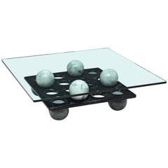 Italian Playful Coffee Table in Glass and Marble
