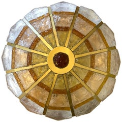 Italian Poliarte Artistic Policrome Glass Rounded Ceiling Flush Mount Lamp 1960s