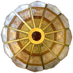 Italian Poliarte Artistic Policrome Glass Rounded Ceiling Flushmount Lamp, 1960s
