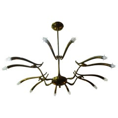 Italian Polished Brass Chandelier Attributed to Oscar Torlasco