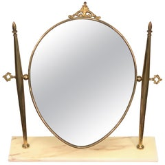 Italian Polished Brass Table Mirror with Marble Adjustable Vanity Base, 1950s