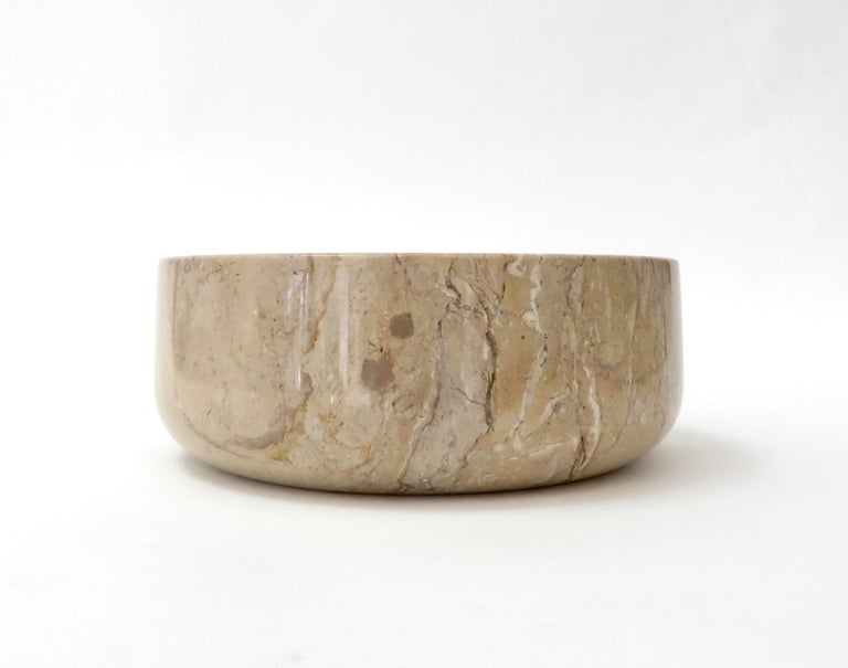 Italian marble bowl for a desk, coffee table or any other use as it is an unusual high sided bowl.  Caramel brown, brown and some gray and white veining in the polished marble bowl.