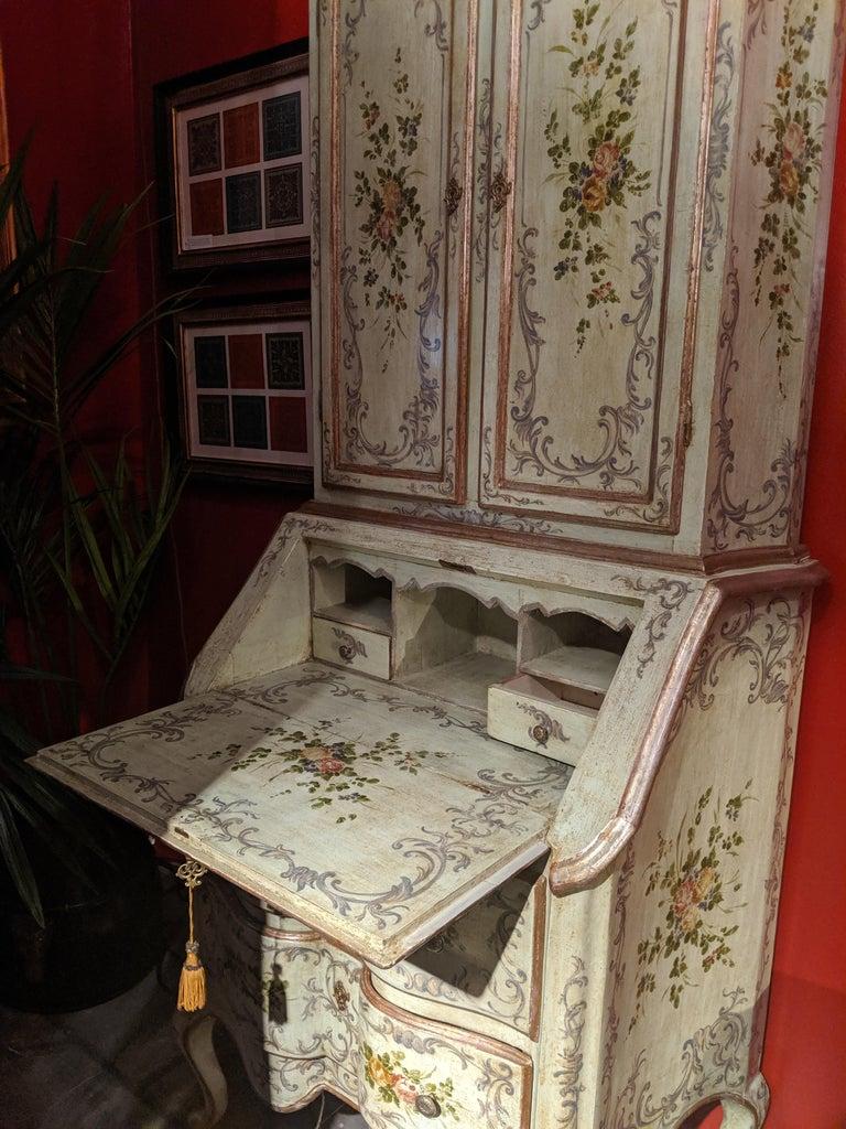 Italian Polychrome Venetian Painted Bureau Cabinet, Early 20th Century For Sale 6