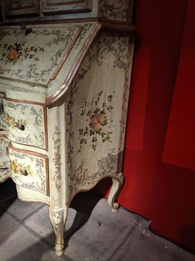 Italian Polychrome Venetian Painted Bureau Cabinet, Early 20th Century For Sale 8