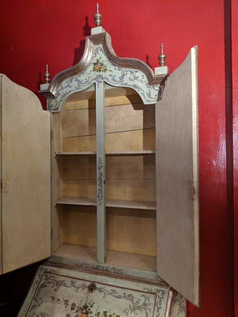 Wood Italian Polychrome Venetian Painted Bureau Cabinet, Early 20th Century For Sale