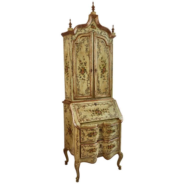 Italian Polychrome Venetian Painted Bureau Cabinet, Early 20th Century For Sale