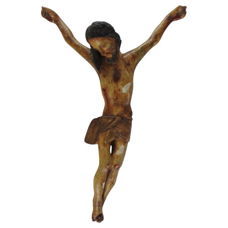 Italian Polychromed Crucifix For Sale