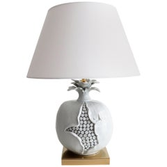 Italian Ceramic and Brass Table Lamp in the Shape of Pomegranate, 1970s