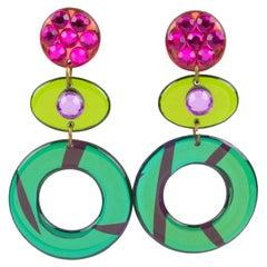 Italian Pop Art Dangling Multicolor Chandelier Lucite Clip-on Earrings