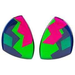 Italian Pop Art Geometric Multicolor Lucite Clip-on Earrings