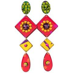 Italian Pop Art Oversized Shoulder Duster Dangle Multicolor Lucite Clip Earrings