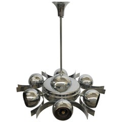 Italian Pop Art Space Age Chrome Ceiling Lamp with Six Balls, 1960s