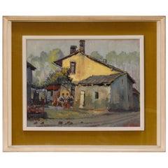 Italian Popular Scene Painting Oil on Board from 20th Century