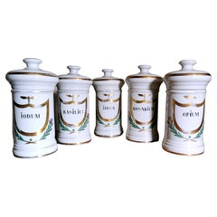 Italian Porcelain 5 Pharmacy Containers with Pure Gold Decorations