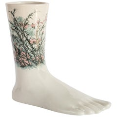 Italian Porcelain Anatomica the Foot, flamingos Decoration by Vito Nesta