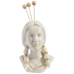 Italian Porcelain Essential Oil Diffuser, Native American Lady by Vito Nesta
