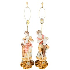 Italian Porcelain Figural Table Lamps in the Style of Giuseppe Pellati, a Pair