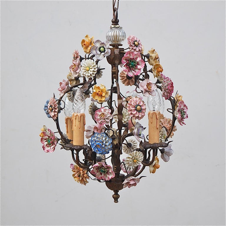 Romantic Italian Porcelain Flower Chandelier, 1950s For Sale