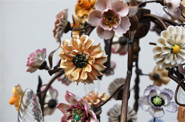 Hand-Painted Italian Porcelain Flower Chandelier, 1950s For Sale
