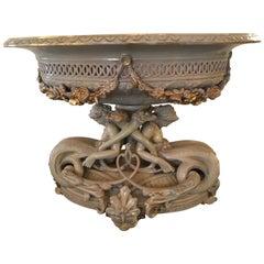 Italian Porcelain Oval, Centerpiece of Grand Scale, Parcel Gilt