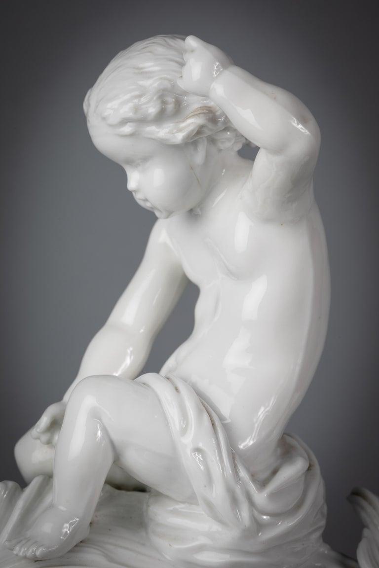 Italian Porcelain White Dolphin Group on Bronze Base, Ginori, circa 1860 For Sale 1