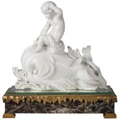 Italian Porcelain White Dolphin Group on Bronze Base, Ginori, circa 1860