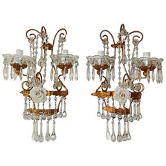 Italian Porcelain White Rose Crystal Murano Drops Sconces, circa 1930