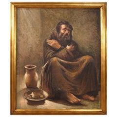 Italian Portrait Painting Oil on Canvas, 20th Century