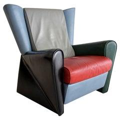 Italian Post Modern Alessandro Mendini Multi Color Leather Lounge Chair