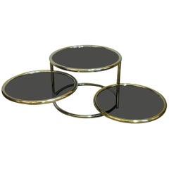 Italian Postmodern Gilded Swivel Coffee Table in the Style of Milo Baughman