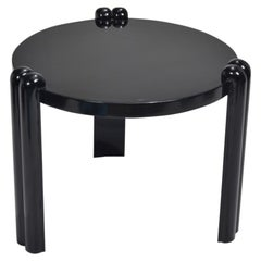 Italian Post-Modern Lacquered Black End Table
