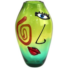 Italian Postmodern Murano Glass Vase Attributed to Giuliano Tosi