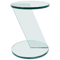 Italian Postmodern Round Glass Side Table or Drinks Table