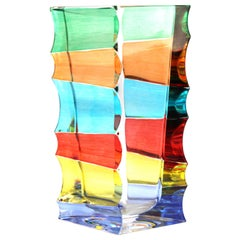 Italian Postmodern Venetian Art Glass Vase by Carullo Collection